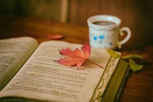 Open book with a leaf and cup of tea
